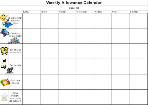 allowance chart template 10 best images of chore chart spreadsheet free printable