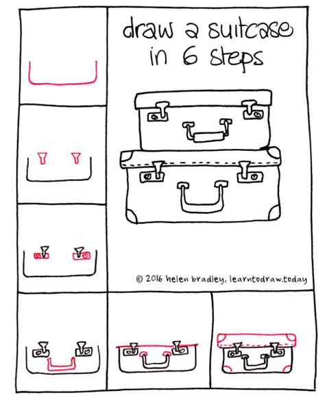 doodle drawing step by step learn to draw a suitcases in 6 steps learn to draw
