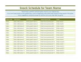 snack schedule template youth sports snack sign up sheet office templates
