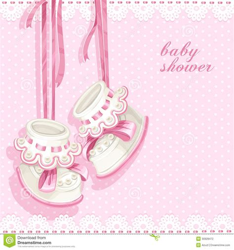 baby pink bathroom baby shower card with pink booties stock photography
