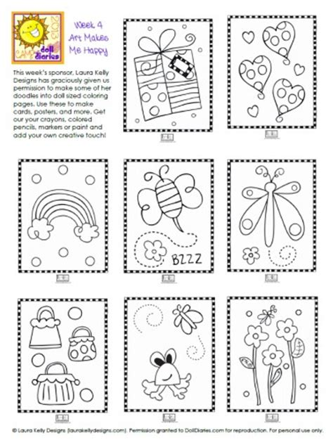 Camp Doll Diaries Laura Kelly Mini Doodle Pages Doll Coloring Posters Printable L