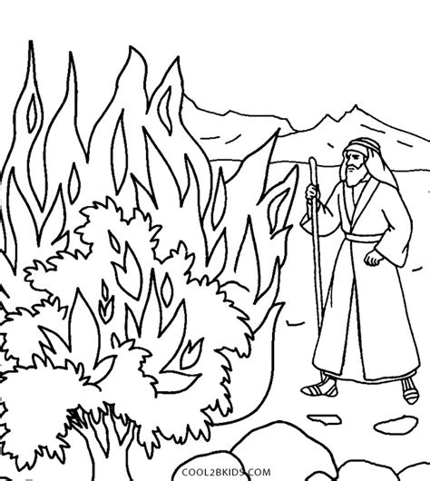 moses and the burning bush coloring pages regarding
