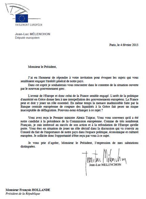 lettre officielle pour solliciter une entreprise afin d effectuer une visite lettre de jl m 233 lenchon au pr 233 sident de la r 233 publique les communistes de b 233 nite et leurs