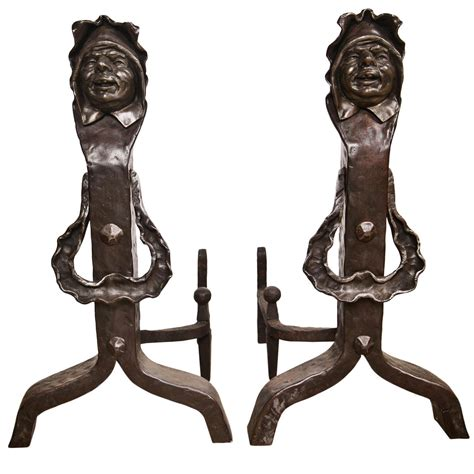 vintage set of figural cast iron fireplace andirons at 1stdibs
