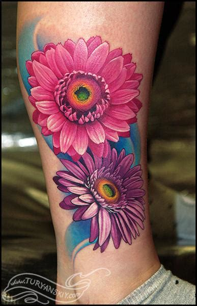 gerbera daisy tattoo gerbera flowers by oleg turyanskiy tattoos