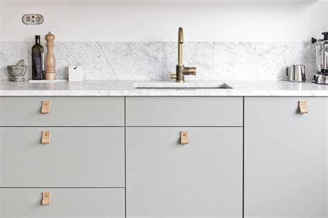 Kitchen Handles With Leather Our Kitchen Green Fronts Marble Counter Top Brass Tap