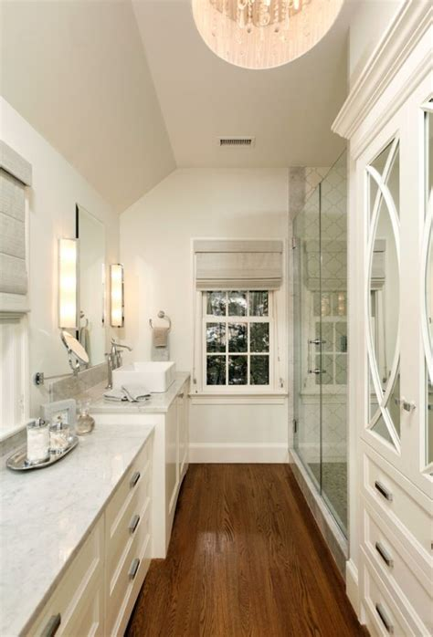 Narrow Bathroom Ideas by Small Master Bathroom Layout Of Our Narrow Space