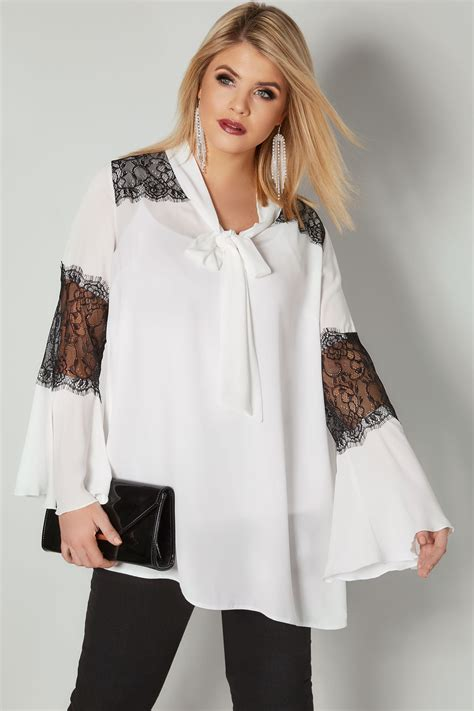 yours white black bow chiffon blouse with lace inserts plus size 16 to 36