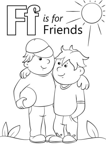 Friendship Color In Card Templates by Letter F Is For Friends Coloring Page Free Printable