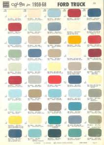 truck colors 1968 ford color chart color chart for 1959 1968 ford