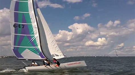 catamaran flying a hull hobie 20 flying hull in charleston sc youtube
