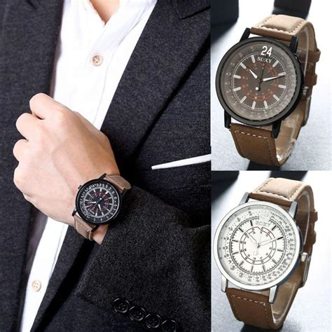 Quartz Fashion top quality mens leather band stainless steel analog