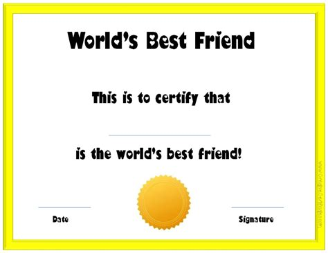 Best Friend Certificate Templates s day certificates