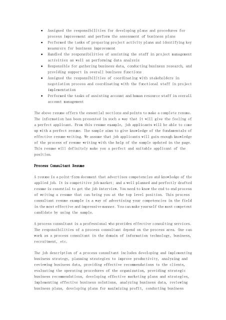 Project Management Consultant Sle Resume by Process Engineer Consultant Resume 28 Images Process Engineer Sle Resume Top 8