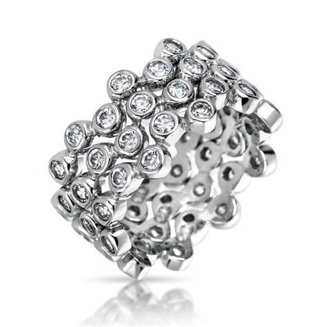 three stackable sterling silver cz band ring set