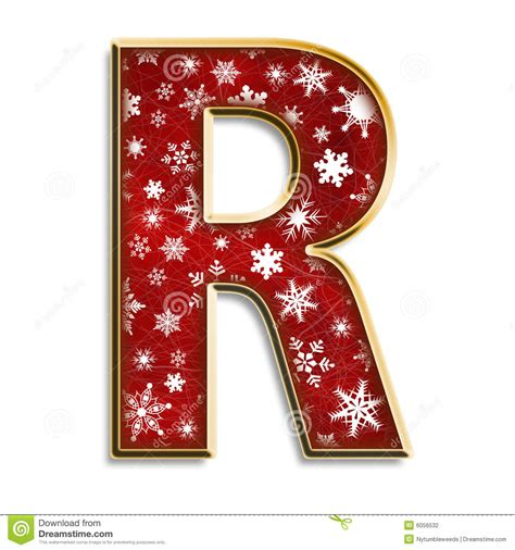 christmas letter r in red stock illustration image of