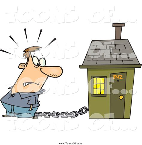 to mortgage a house clipart of a cartoon caucasian man tied to a house with a mortgage chain by toonaday