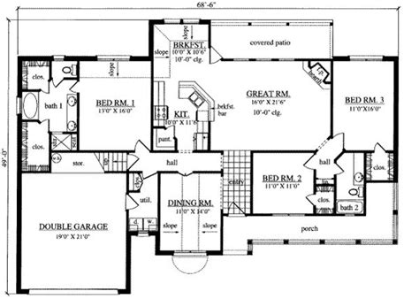 3 bedroom ranch house floor plans 3 bedroom ranch style floor plans photos and video wylielauderhouse com