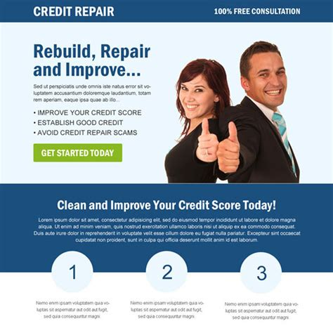 credit repair flyer templates credit repair landing page design template to boost your credit repair business page 2