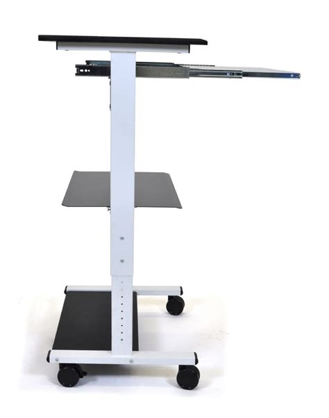 three shelf adjustable stand up workstation
