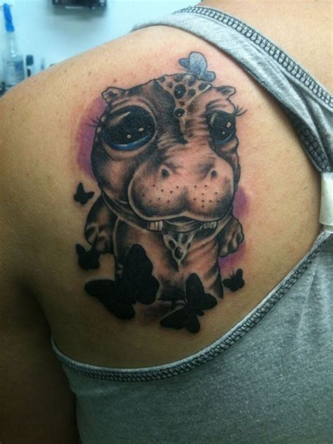 hippo tattoo my newest of a baby hippo and butterflies tattoos