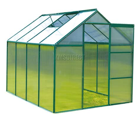 green house door foxhunter 8x6ft green polycarbonate greenhouse aluminium