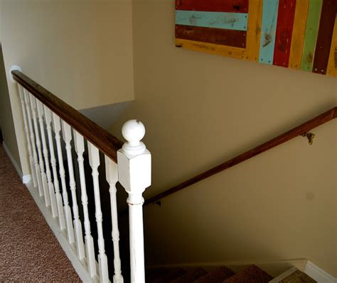 how to refinish a wood banister the polka dot umbrella banister and handrail refinish