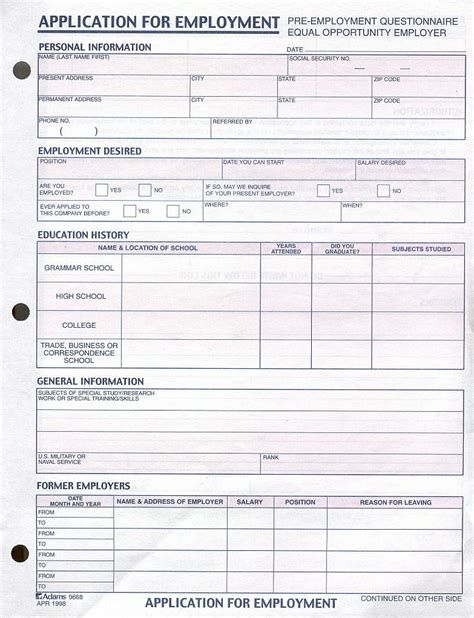 free printable job applications online application form free job employment application form