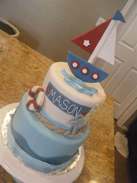 Nautical Baby Shower Cakes by Cassy S Cakes Vintage Nautical Baby Shower Cake