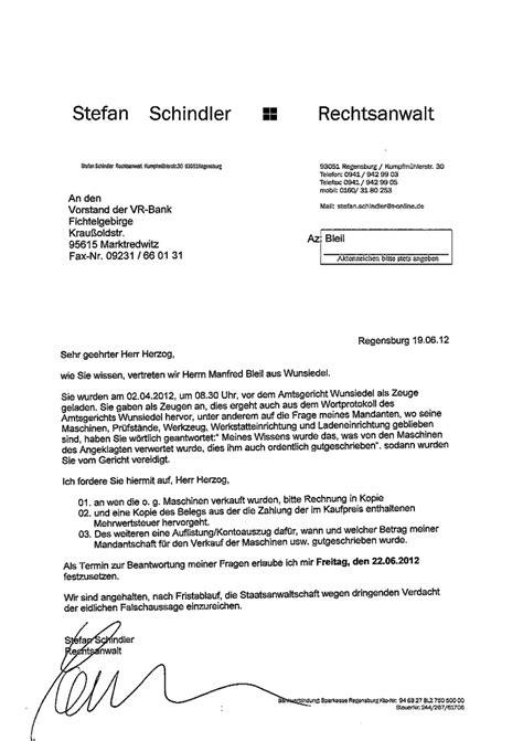 Schreiben Rechtsanwalt Muster G 228 Stebuch Zu Vr Bank Marktredwitz Eg