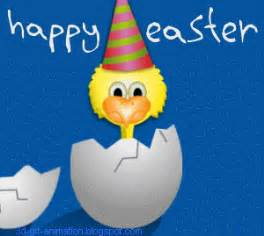 Greetings from happy easter chick who comes out alive from inside the