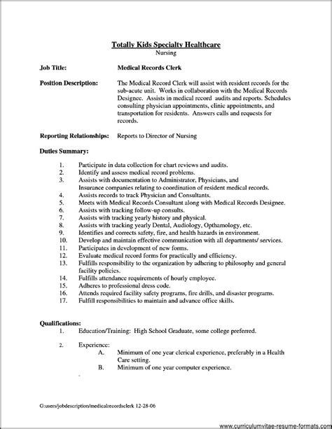 office clerical resume sles office clerk description for resume free sles