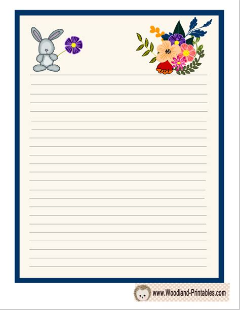 printable animal lined paper cute writing paper with rabbit and flowers free