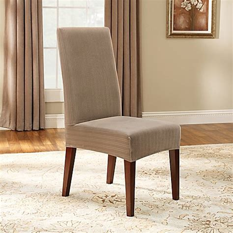 Sure Fit 174 Stretch Pinstripe Short Dining Chair Slipcover Stretch Dining Chair Slipcovers