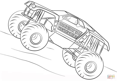 maximum destruction monster truck coloring page free