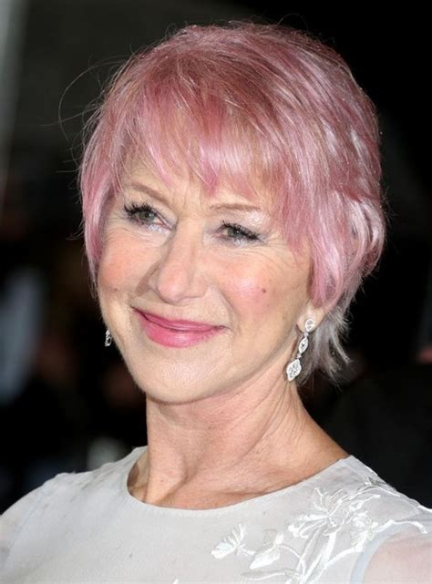 over sixties hair styled helen mirren pink short hair 2014 short hairstyle for