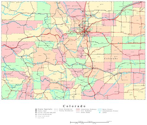 colorado map with cities colorado printable map