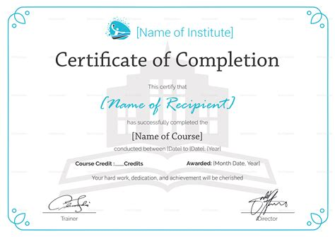 Training Completion Certificate Design Template In Psd Word Course Completion Certificate Template
