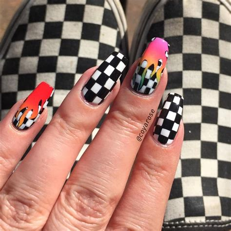 nail art checkered tutorial checker checkered checkerboard rainbow flame tana mongeau