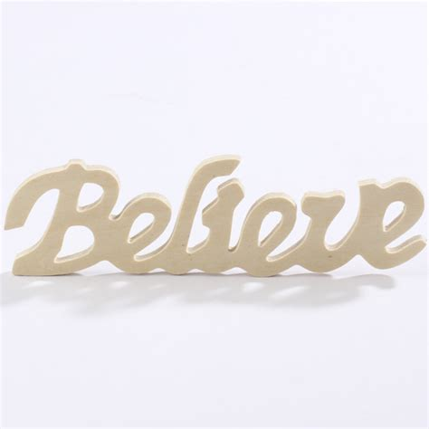 unfinished wood quot believe quot cutout signs and frames