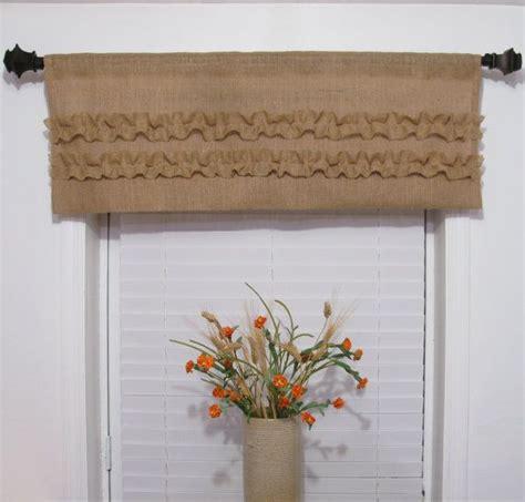 Handmade Window Treatments - burlap window valance ruffled rustic curtain