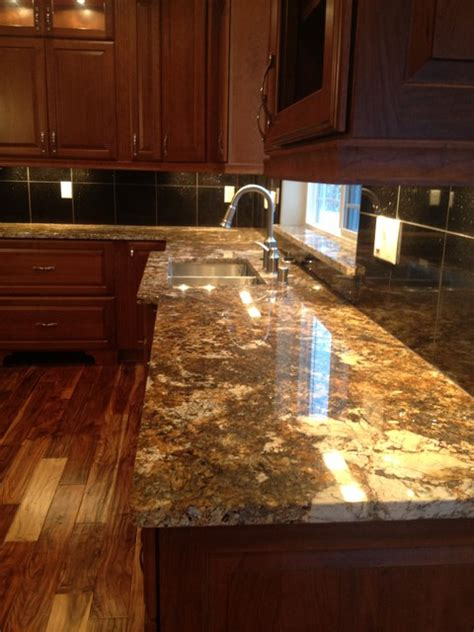 12x12 Granite Tile Countertop by Carnival Granite With Black Galaxy Island And Black Galaxy