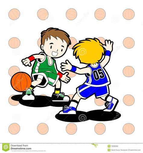 clipart bimbi 2 bambini giocano pallacanestro illustrazione
