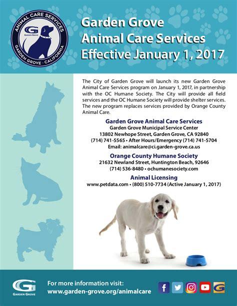 Garden Grove Ca Business License Garden Grove Animal Care Services Coming January 1 2017