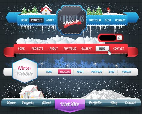 christmas website menu navigation vector free vector