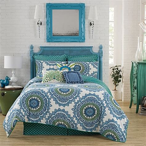 anthology bungalow reversible comforter set in teal bed