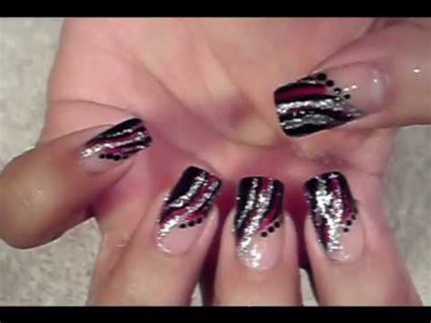 easy nail art black and silver easy quick nail art design red black silver design youtube
