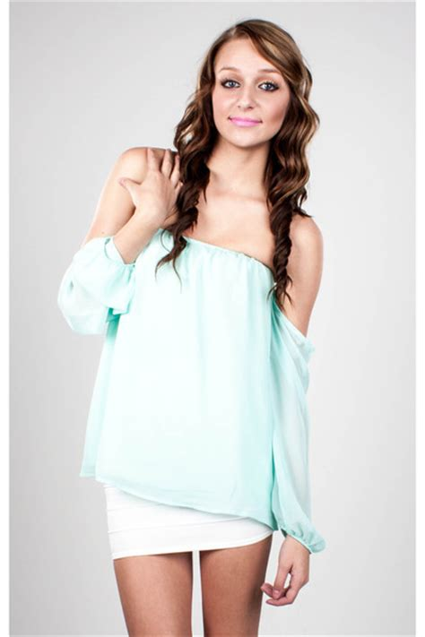 Ar03 Galery Top Mint shoulder less flowy mint top by lavocollectionstx chictopia