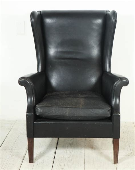 Black Leather Wingback Chair by Italian Black Leather High Wingback Chair At 1stdibs