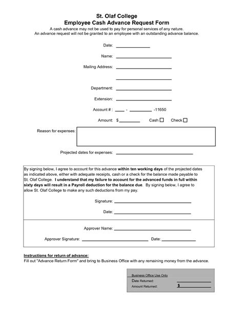 employee advance form 10 best images of employee advance agreement form